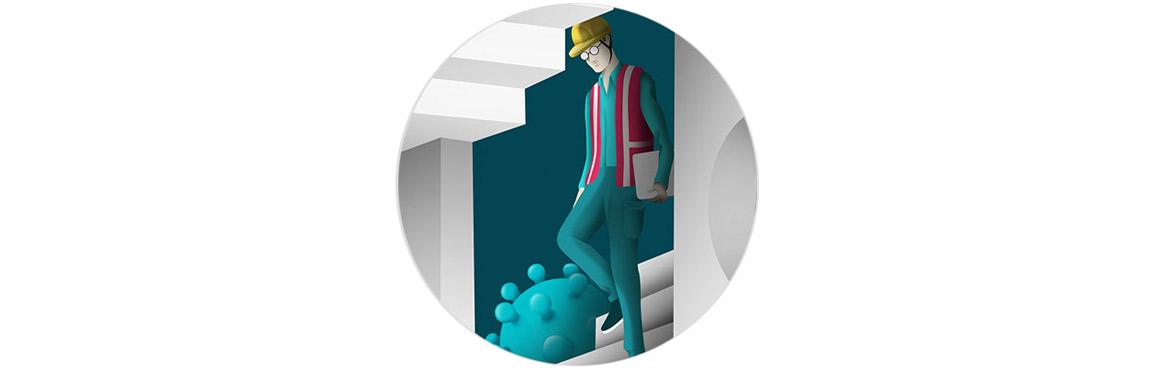 des bribes d'illustration d'un labyrinthe dans lequel naviguent des travailleurs, entourés par le virus