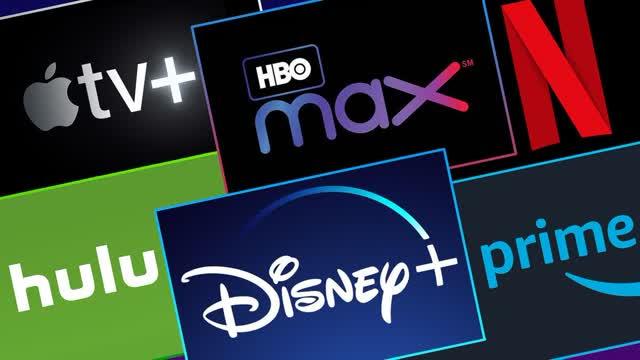 Les logos de six services de streaming : Apple TV Plus, HBO Max, Netflix, Hulu, Disney Plus et Amazon Prime Video,