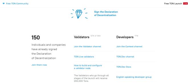 Voici à quoi ressemble le site web de Free TON, qui a lancé TON OS basé sur Telegram Open Blockchain. Il montre que 150 personnes et entreprises ont signé la Déclaration ouverte de décentralisation (DOD). Source : Communauté TON gratuite.