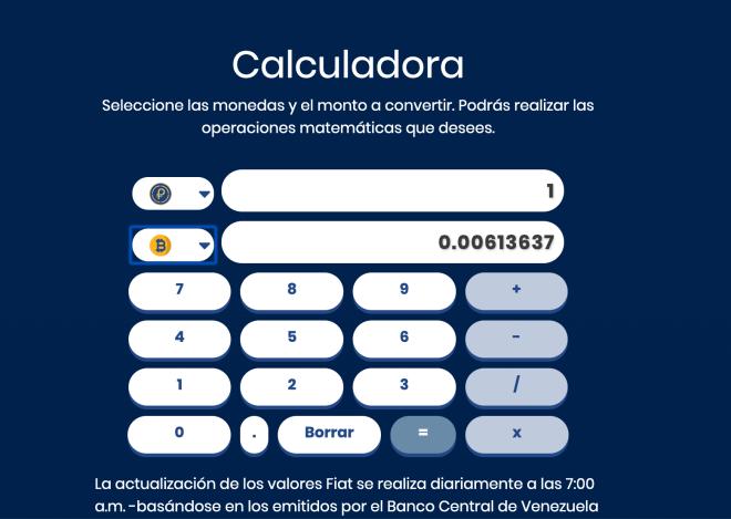 Calculateur permettant de déterminer la valeur d'un Petro en fonction de différentes cotations.