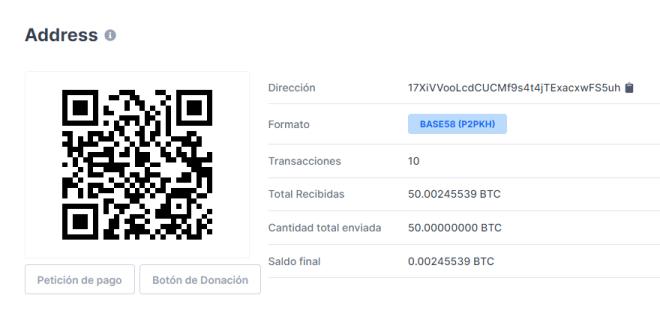 Informations sur les transactions suggérant l'apparition de Satoshi Nakamoto, où 50 Bitcoin ont été déplacés par le biais de 10 transactions. Source : Blockchain.com