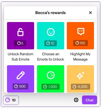 Image de Twitch.com où l'on voit les différentes récompenses disponibles à titre d'exemple