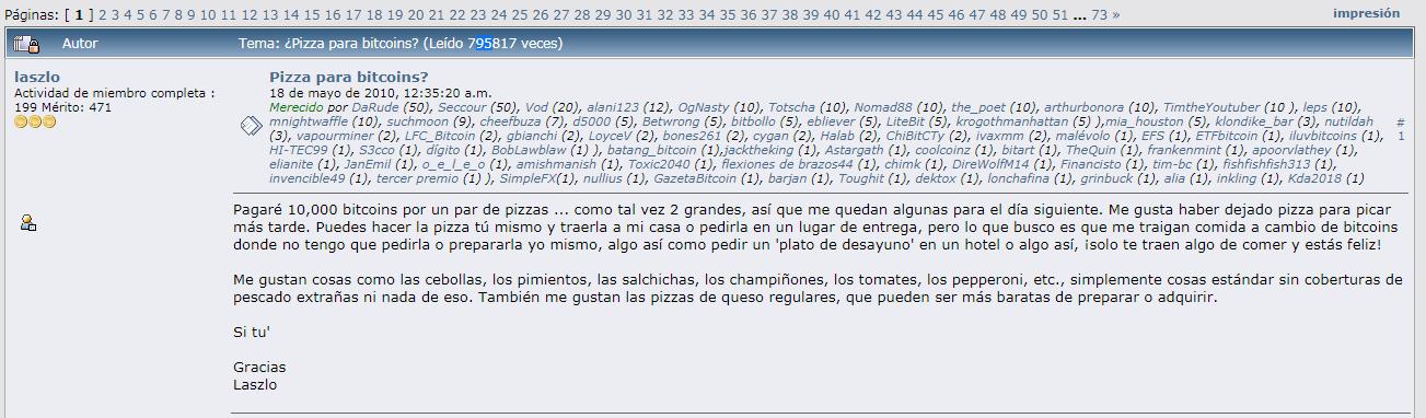 Publication réalisée par Laszlo pour l'achat de 2 pizzas pour 10 000 BTC. Source : Bitcointalk