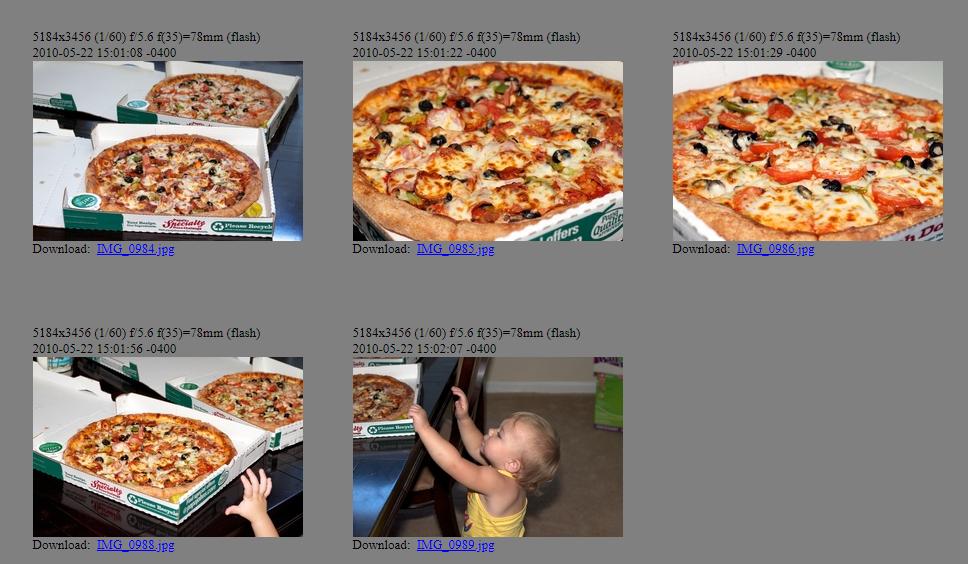 Photos des pizzas achetées par Laszlo. Journée de la pizza Bitcoin. Source : Heliacal