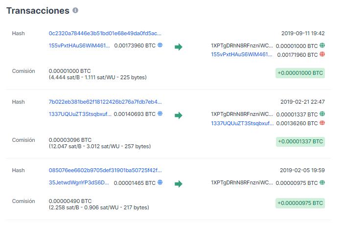 Derniers mouvements du portefeuille de Laszlo. Source. Blockchain.