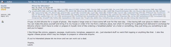 La journée de la pizza Bitcoin est née avec ce premier achat chez BTC. Source : BitcoinTalk