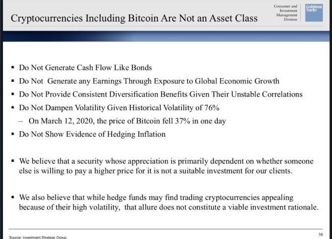 Goldman Sachs déçoit les fans de Bitcoin avec sa présentation. Source : Fortune