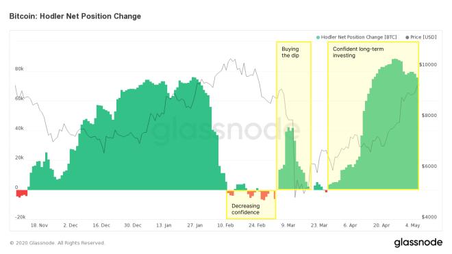 Les Hodler accumulent plus de 80 000 bitcoins par jour avant la réduction de moitié. Source : Glassnode