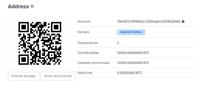 Portefeuille de la personne qui a reçu les 10 000 CTB. Journée de la pizza Bitcoin. Source : Blockchain