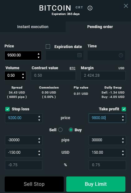 Interface pour la programmation d'un ordre d'achat automatique de Bitcoin