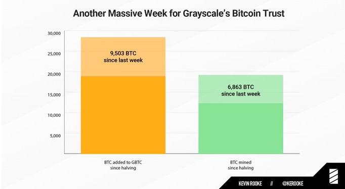 Achat de Bitcoin par Grayscale Bitcoin Trust au cours de la semaine dernière. Source : Kevin Rooke