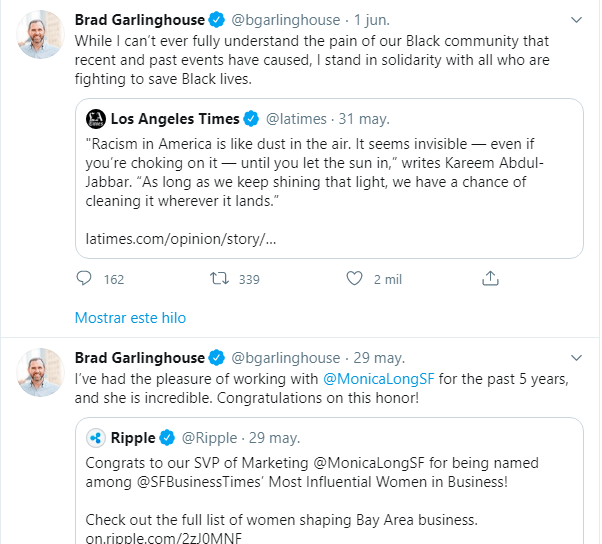 Photo du profil de Brad Garlinghouse sur Twitter, où l'on note qu'il n'a pas commenté la réunion avec la Banque centrale du Brésil.